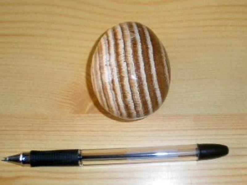 Aragonite egg, yellow-brown, banded, 1 piece