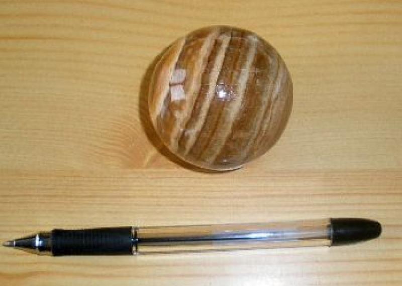 Aragonite sphere, brown banded, 1 piece