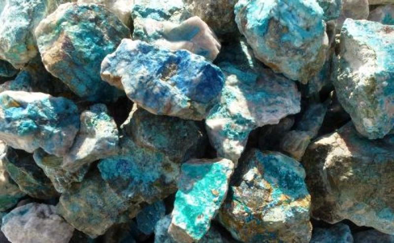 Dioptase, Shattuckite, Chrysocolla (1st choice), Kaokoveld, Namibia, 100 kg
