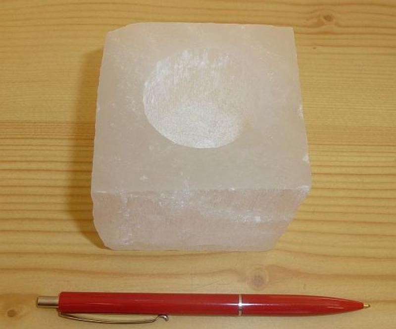 Selenite tealight, candle ligth holder, white, square, polished, 1 piece