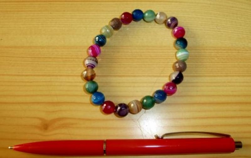 Wrist band, coloured agate, faceted spheres, 6 mm, 1 piece