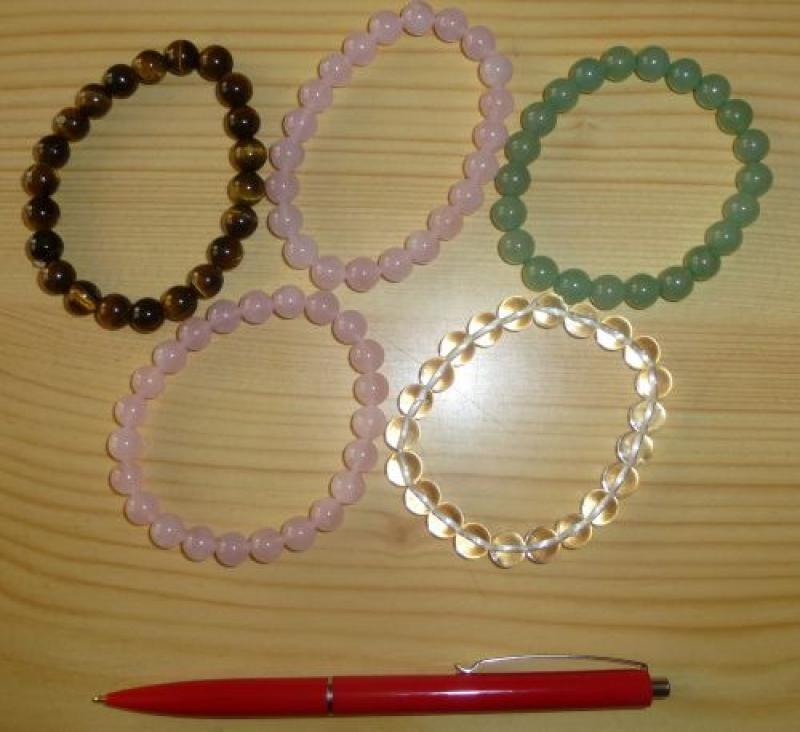 Wrist band, rose quartz, 8 mm spheres, 1 piece