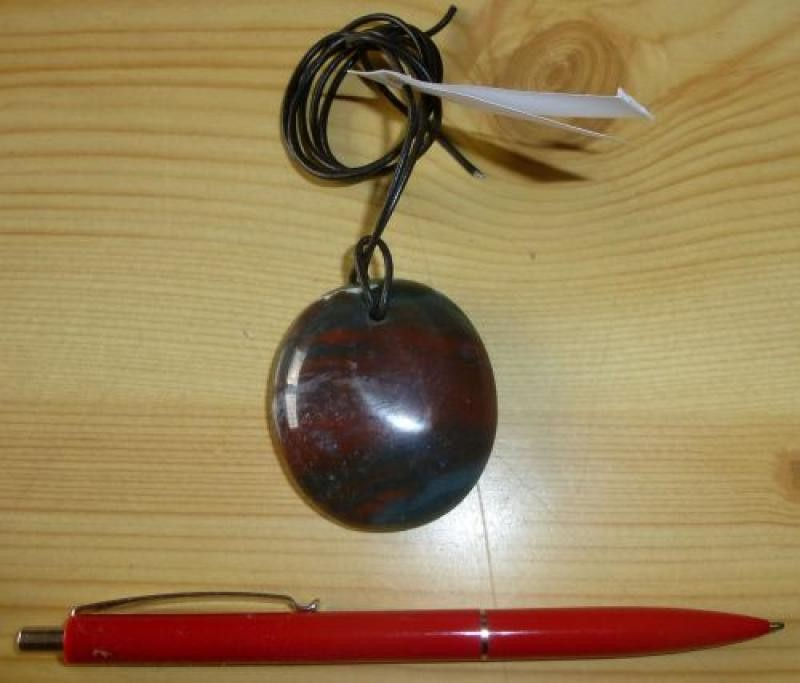 Pendant made of fancy jasper with leather band (Unique!)