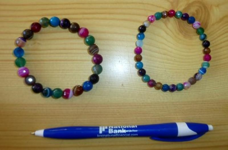Wrist band, coloured agate, faceted spheres, 8 mm, 1 piece