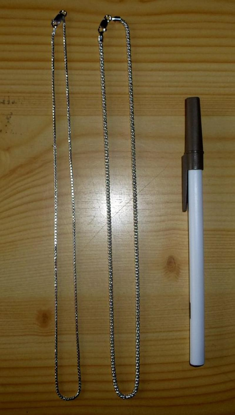 """Silver necklace (chain, real silver, rhodium plated, """"Venice-round"""") 45 cm, 1 piece"""