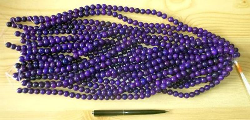 Sugilite enhanced, bead string, 10 mm spheres