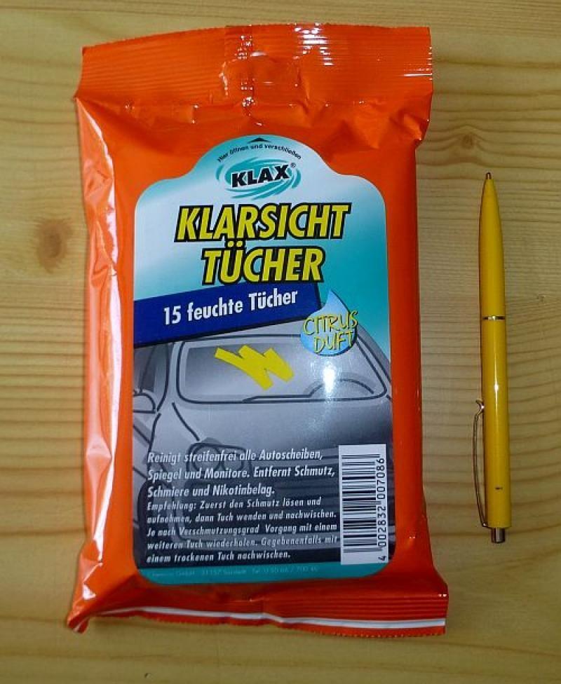 """""""Klax"""" glass cleaning towels, citrus, 15 pcs. per pack, 1 package"""