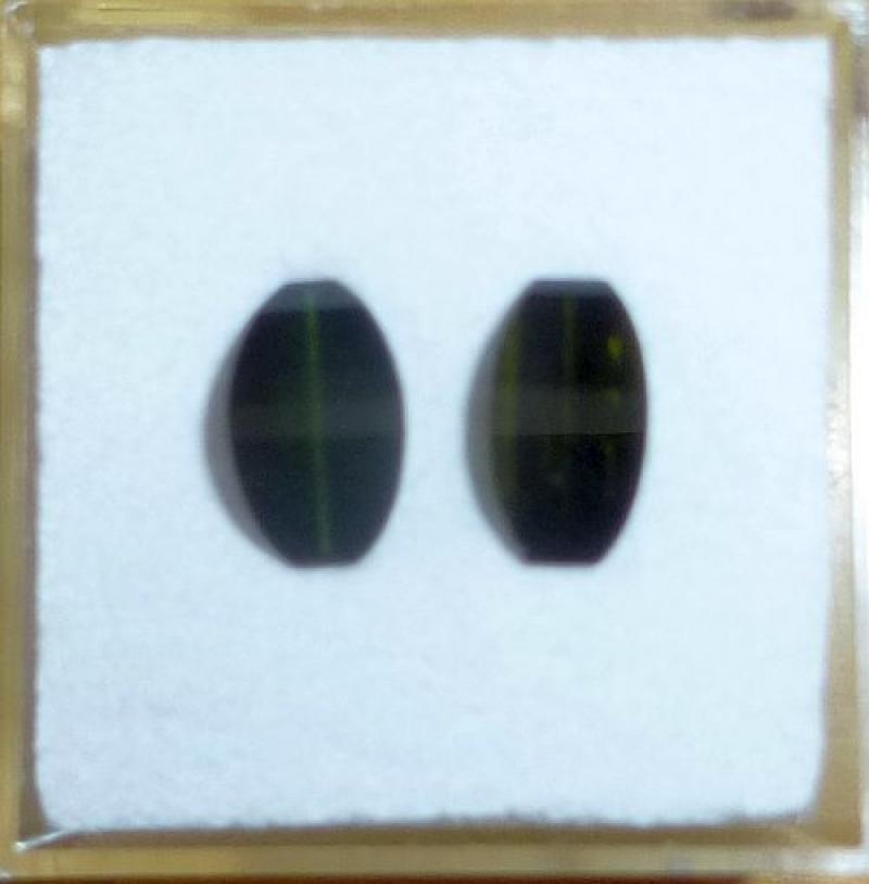 Tourmaline faceted, cats eye, 2 stones of each 9 mm, Karibib, Namibia