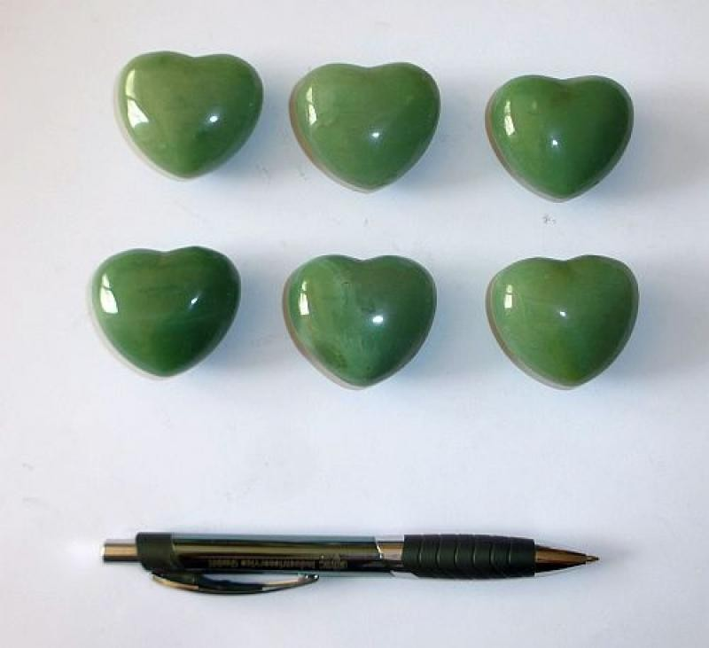 Heart made of aventurine quartz, untreated, app. 4 cm, 1 piece