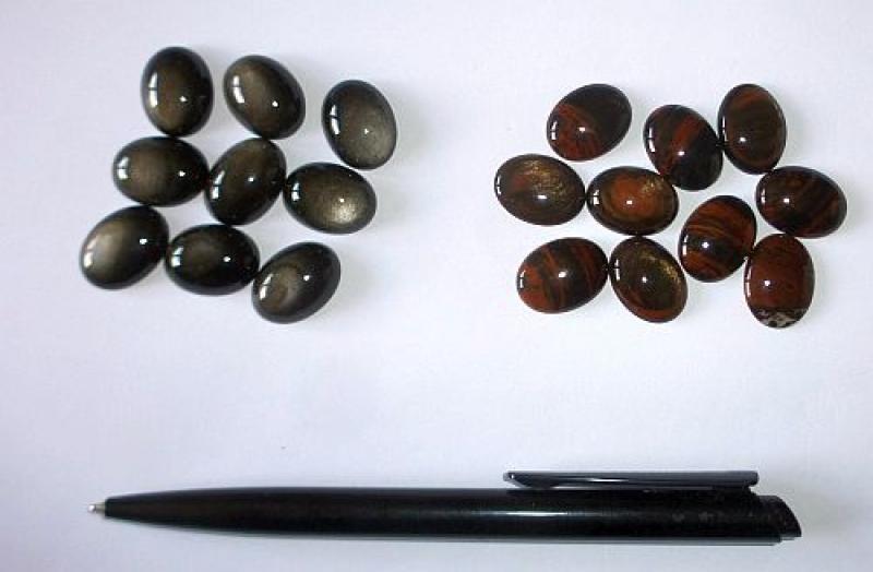 Mahogany Obsidian, Cabochon, cats eye, 20-30 mm, Armenia, 10 pieces