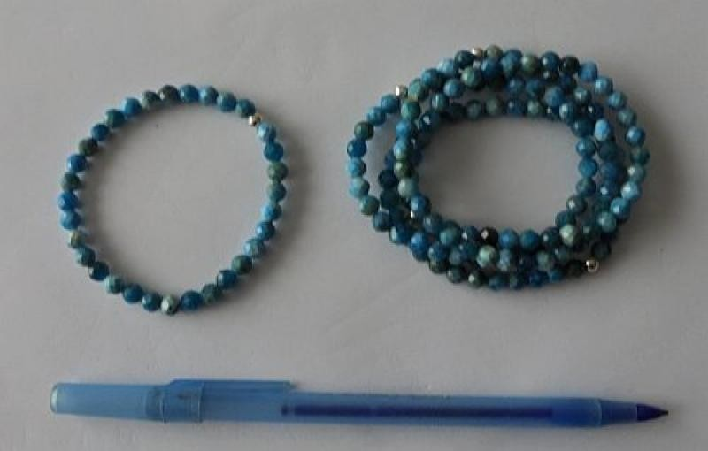 Wrist band with apatite + silver, 4 mm spheres, facetted, 1 piece