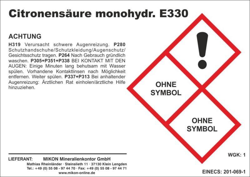 Citric acid, E 330; 25 kg