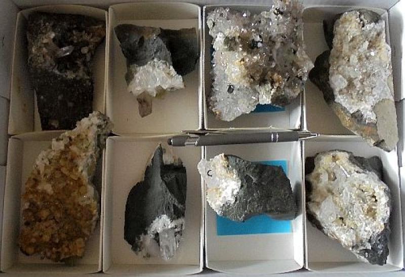 Amethyst (Enhydro), Pumpellyite, Mountain Quartz X/xx, Brandberg, Namibia, 1 flat with 8 pieces