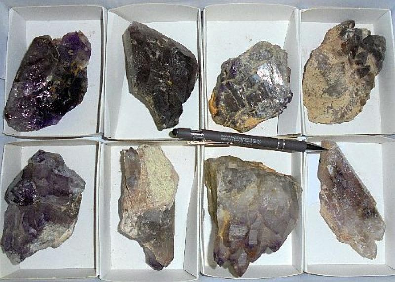 Amethyst (Enhydro) X, Brandberg, Namibia, 1 flat with 8 pieces