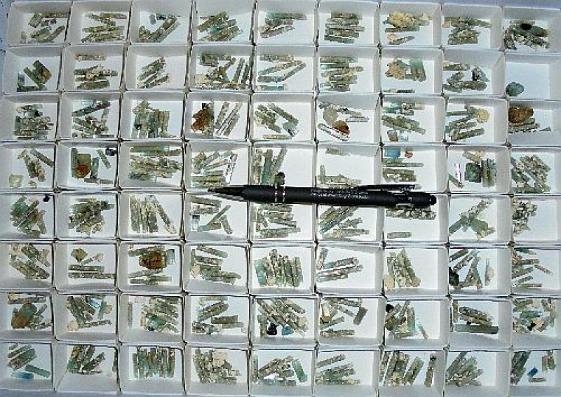 Aquamarine X, Erongo, Namibia, 1 flat with 300+ specimen