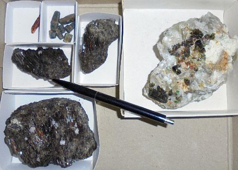 Tourmaline crystals, etc., Tanzania, 1/2 flat