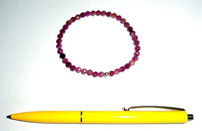 Wrist band, tourmaline (pink) + silver, 5 mm spheres, faceted, 1 piece