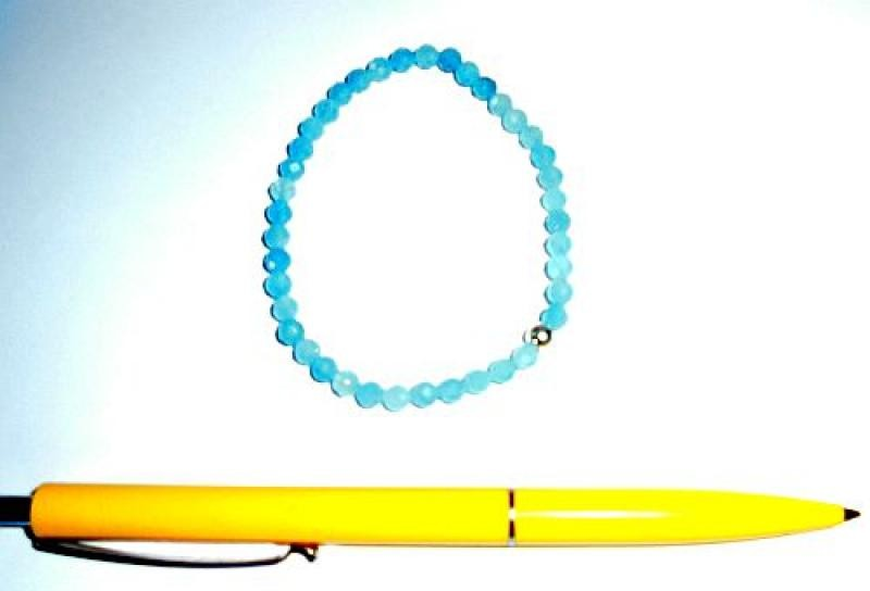Wrist band, aquamarine (1st choice) and a real silver sphere, 5 mm spheres, faceted, 1 piece
