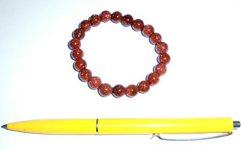 Wirstband, gold stone, 8 mm spheres, 1 piece