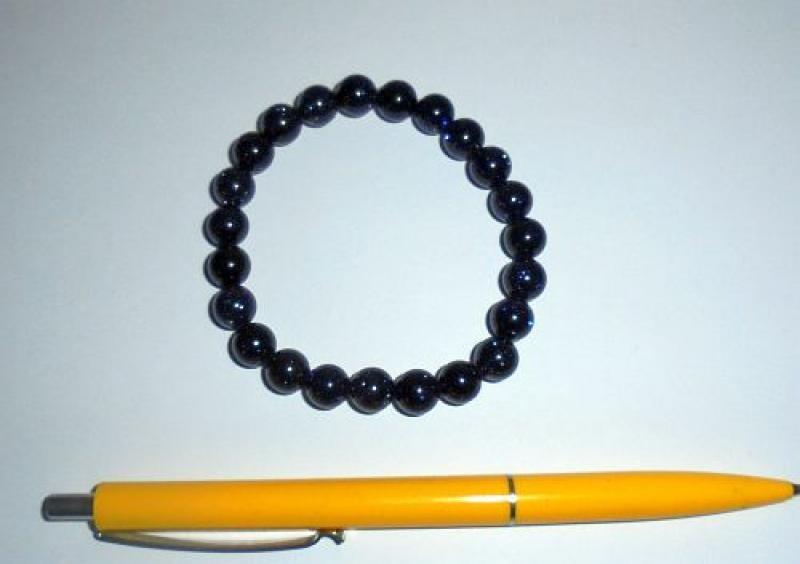 Wirstband, blue stone, 8 mm spheres, 1 piece