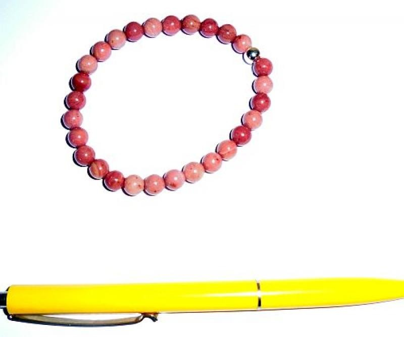 Wrist band, thulite + silver, 6 mm spheres, 1 piece