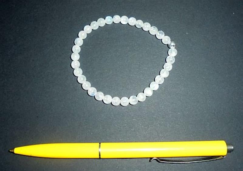 Wrist band, moonstone + silver, 6 mm spheres, 1 piece