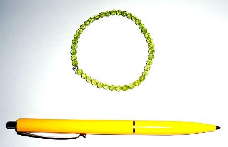 Wrist band, olivine/peridote + silver, 5 mm spheres, faceted, 1 piece