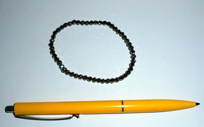 Wrist band, pyrite + silver, 5 mm spheres, faceted, 1 piece