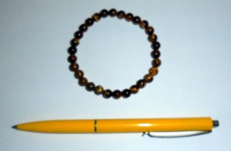 Wrist band, tigers eye, 6 mm spheres, 1 piece