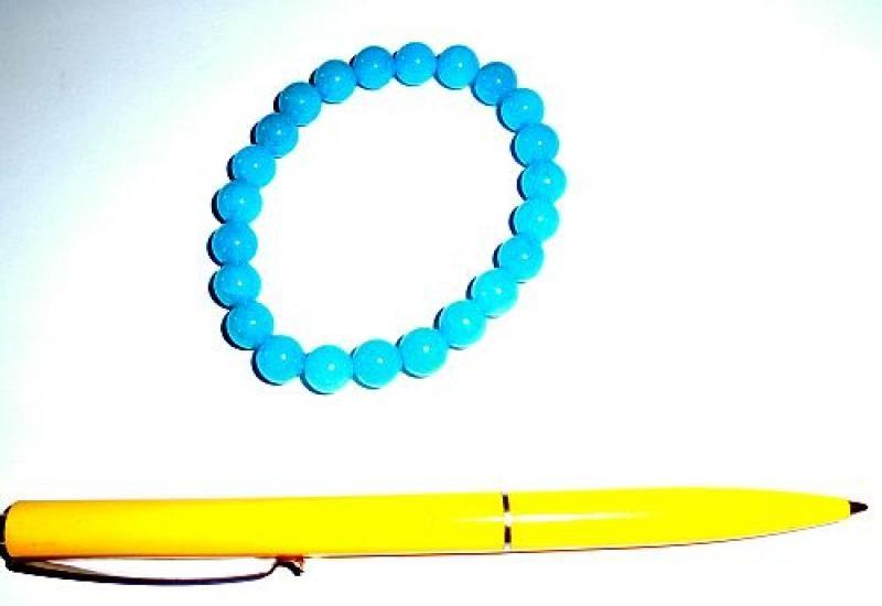 Wrist band, quartz (turquoise colored), 8 mm spheres, 1 piece