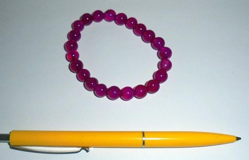 Wrist band, quartz (pink colored), 8 mm spheres, 1 piece