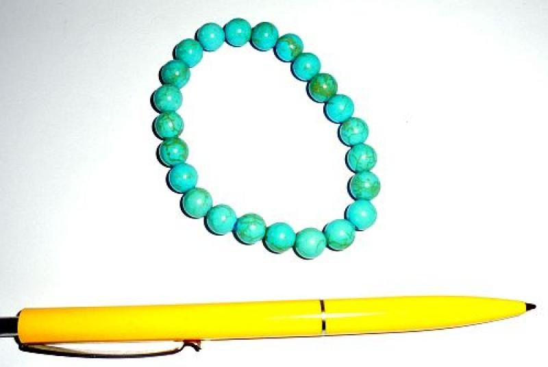 Wrist band, turquoise (howlite, coloured), 8 mm spheres, 1 piece