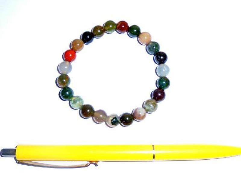 Wrist band, fancy jaspis, 8 mm spheres, 1 piece