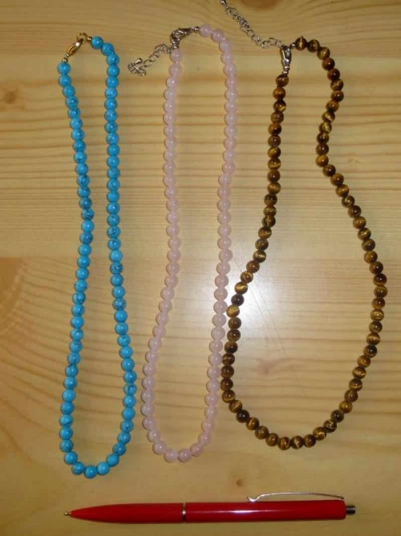 Necklace with 6 mm Turquoise (Howlite, coloured) spheres, 45 cm long, 1 piece