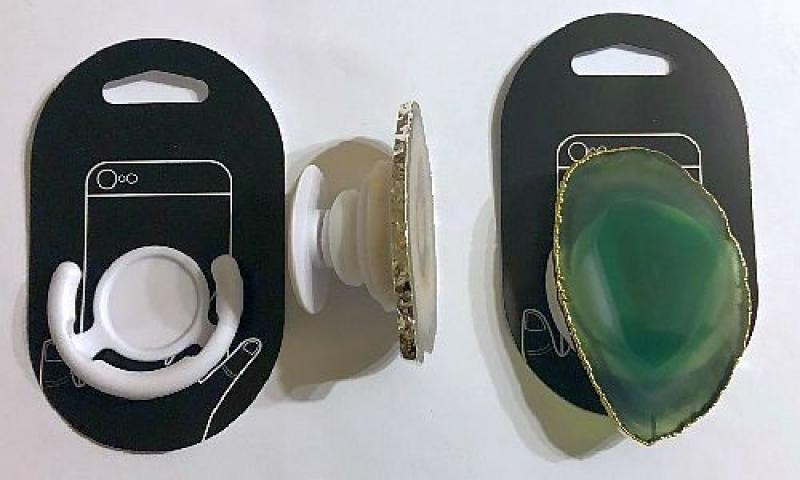 Cell phone holder (foldable) with agate slice (green), 1 piece