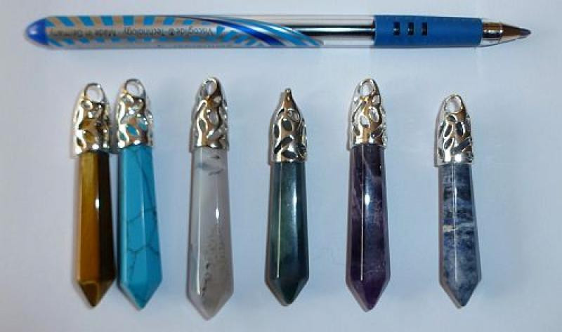 Stone pendant, large, colourful mixture, 10 piece