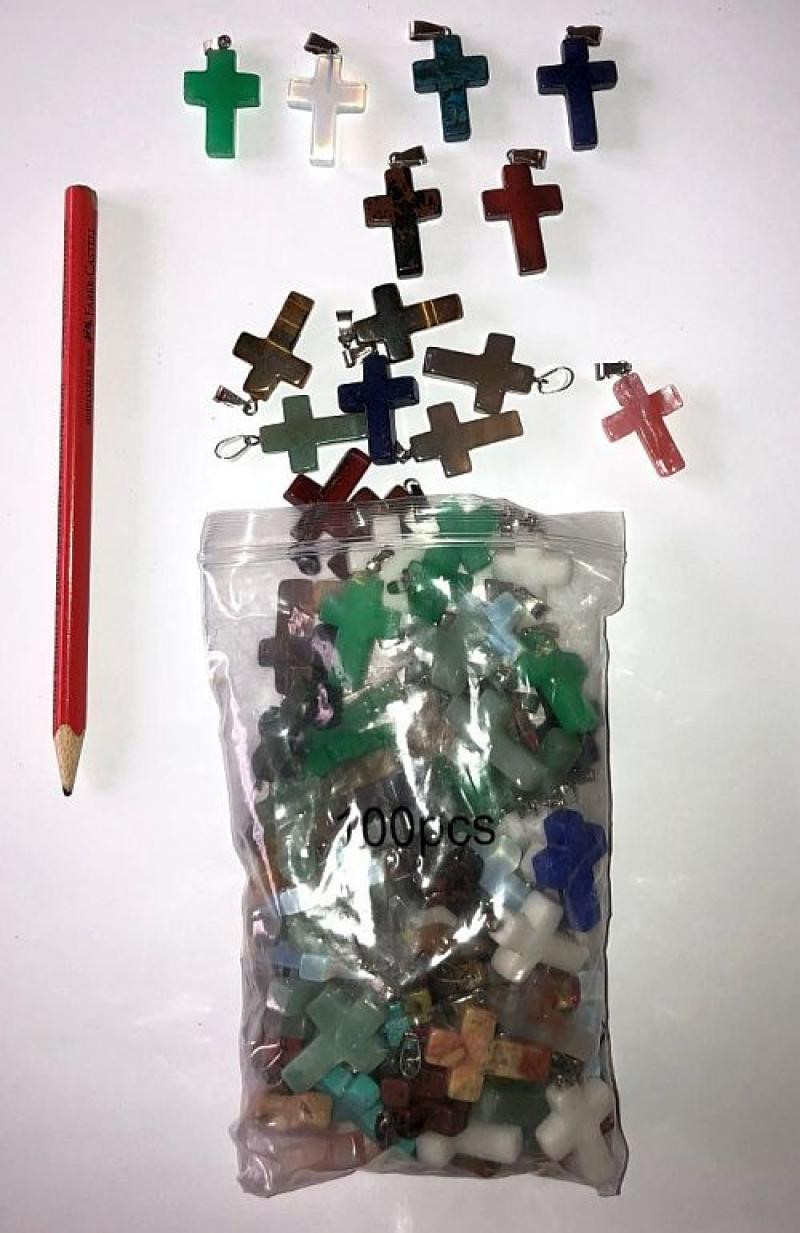 Pendant, 2.5 cm (cross with loop) 100 pieces colourful mixture