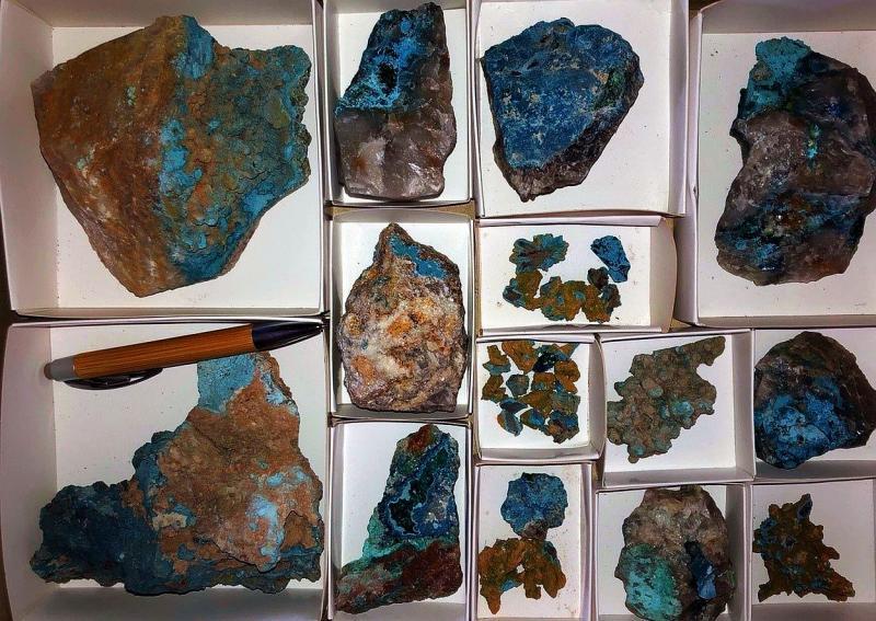 Shattuckite xx, Otjowe, Omaho, Kaokoveld, Namibia, 1 flat