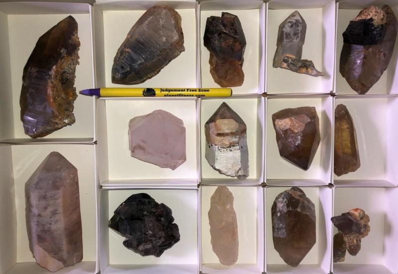 Smoky Quartz + Mountain Quartz crystals, Erongo, Namibia, 1 flat