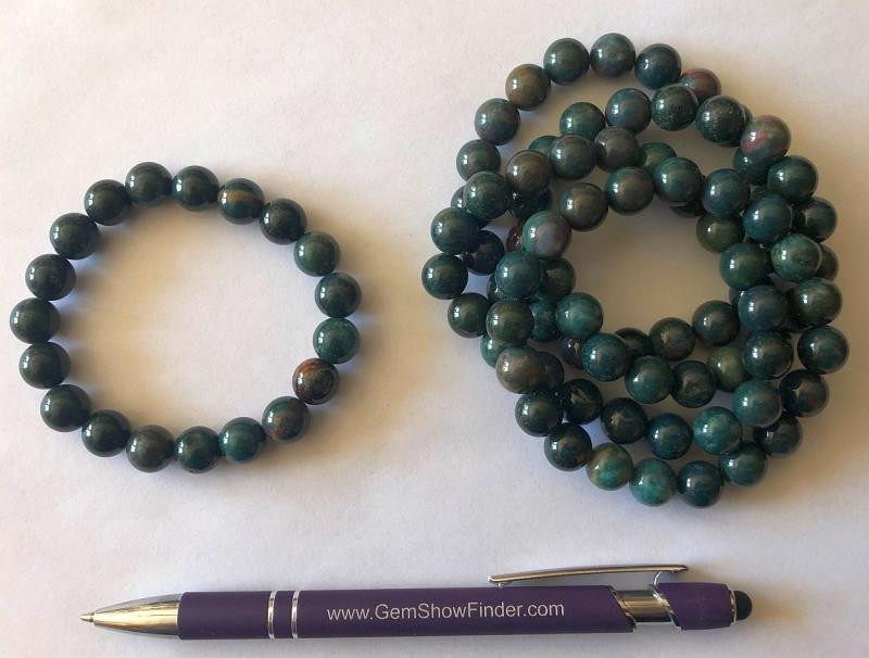 Wrist band, heliotrope, 10 mm spheres, 1 piece