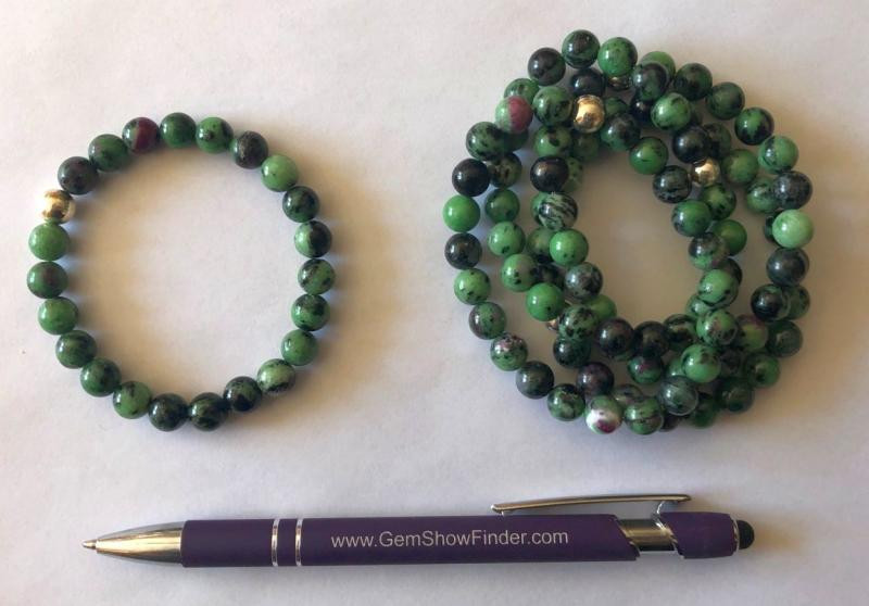 Wirstband, ruby in zoisite, 8 mm spheres, with real silver sphere, 1 piece