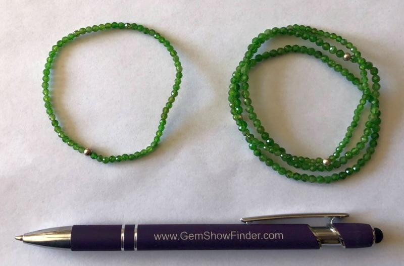 Wrist band, chromium diopside (faceted) and real silver sphere, 4 mm spheres, 1 piece