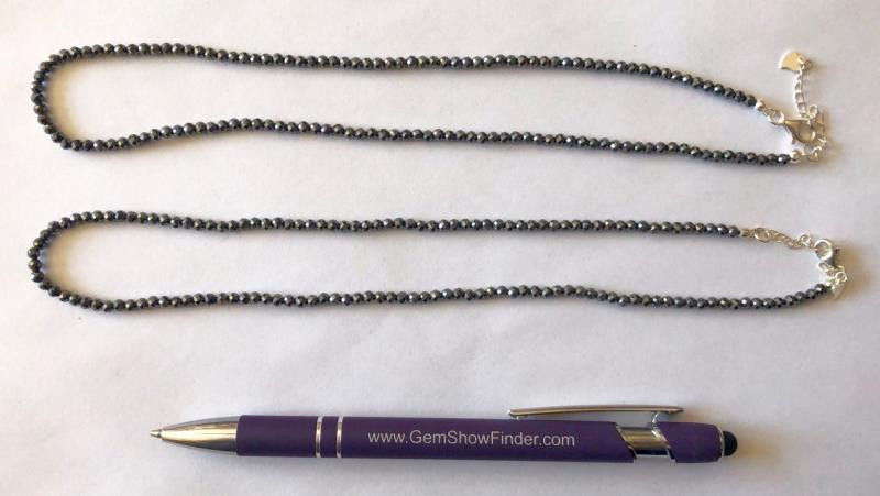Necklace with 3 mm hematite spheres, facetted, 45 cm long, 1 piece