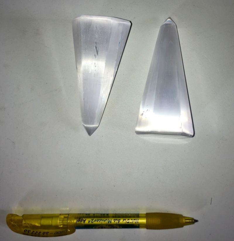 Selenite mountain, hexagon, polished, 8 to 10 cm, 10 pieces