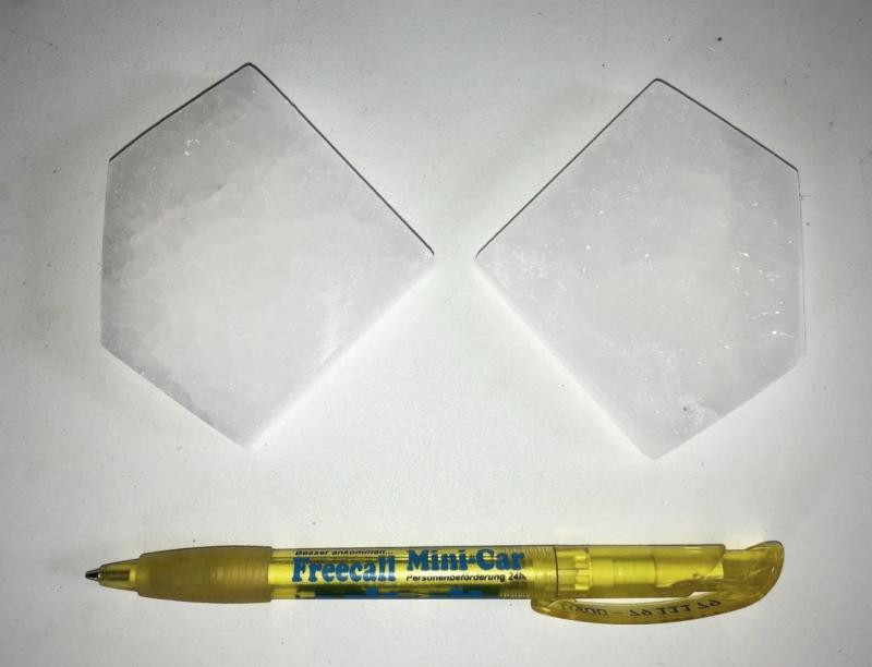 Selenite, white, Chakra disc, 7 cm, pentagon, 1 piece