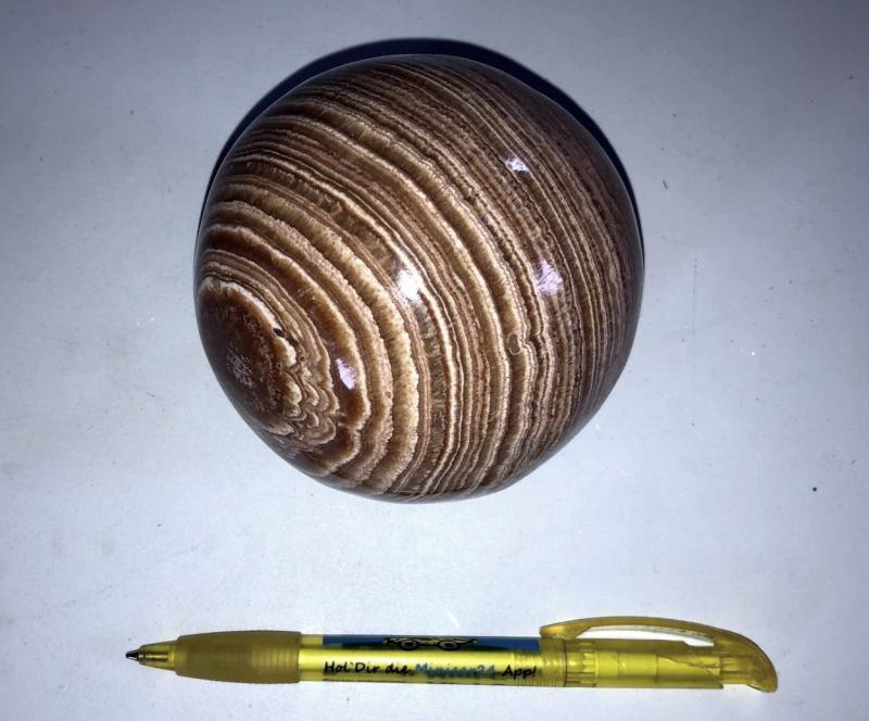 Aragonite sphere, brown banded, 10 cm, 1 piece