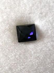 Glass doublette rectangular, blue, 4 mm