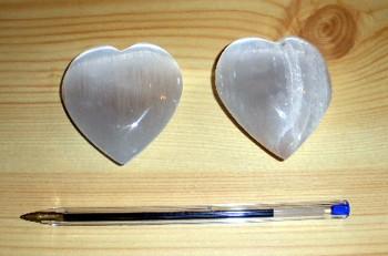 Selenite heart, white, app. 7 cm, 1 piece
