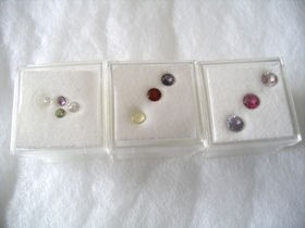 gemstone-set of 3 stones, facetted, 1 lot of 3 sets