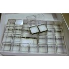 Perky boxes 1 1/4 inch cube, 1 flat of 56 pieces, with styrofoam inserts